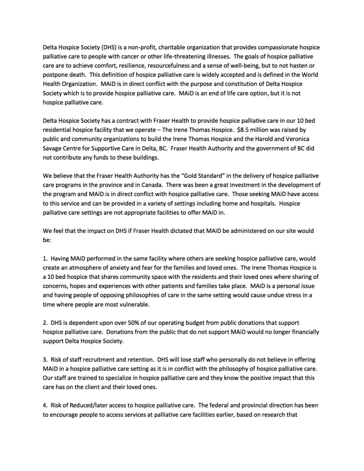 DHS Letter - Impact of MAiD